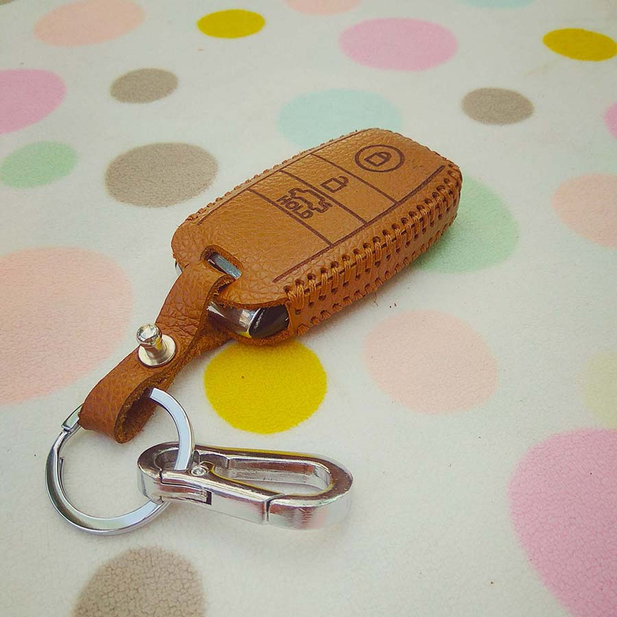 Bao da 3 nút dùng cho chìa smartkey xe hơi Kia