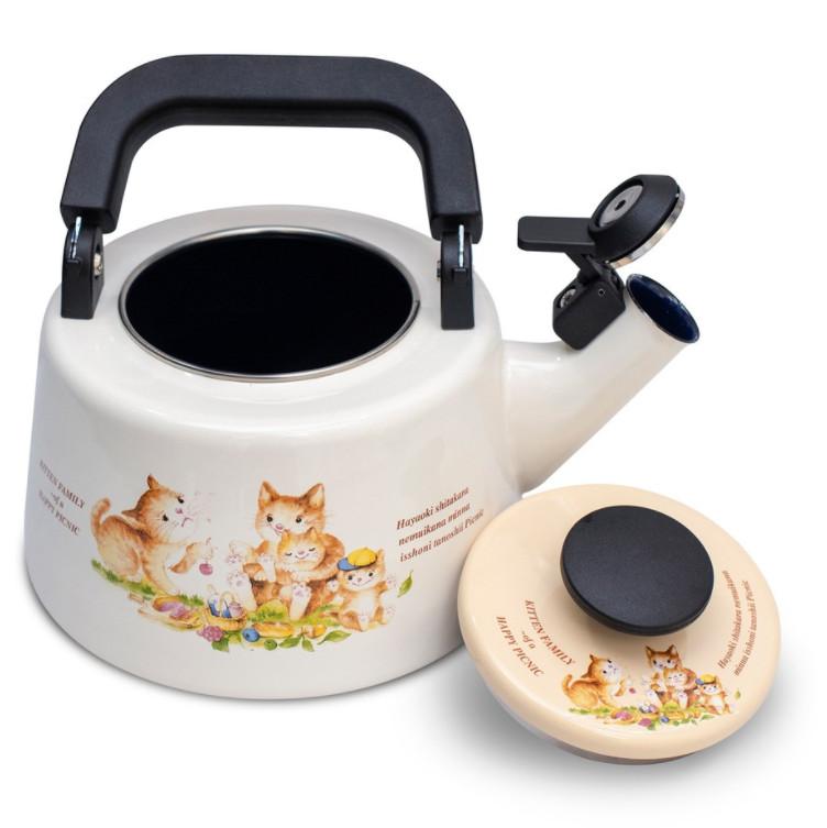 Ấm đun tráng men cao cấp Fujihoro KIT-2.2WK 2.1L họa tiết con mèo - Hàng chính hãng