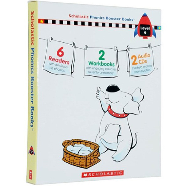 Scholastic Phonics Booster Books : Box Set Level 9 (Include 6 Books, 2 Workbooks and 2 Audio CDs)
