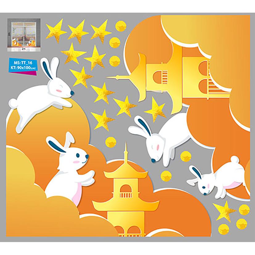 Decal trang trí trung thu 2021  chân tường thỏ trắng vui đùa