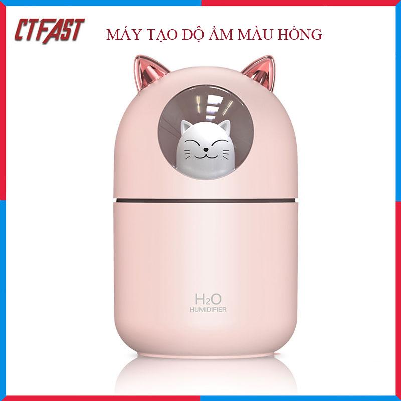 Máy Phun Sương, Máy Tạo Độ Ẩm Mini Hình Mèo CTFAST-01 Dung Tích 300 ML, Cấp Ẩm Cho Da, Phòng Điều Hòa, Khuếch Tán Tinh Dầu, Hoạt Động Êm Ái Ánh Sáng Thay Thế Đèn Ngủ - Hàng Chính Hãng