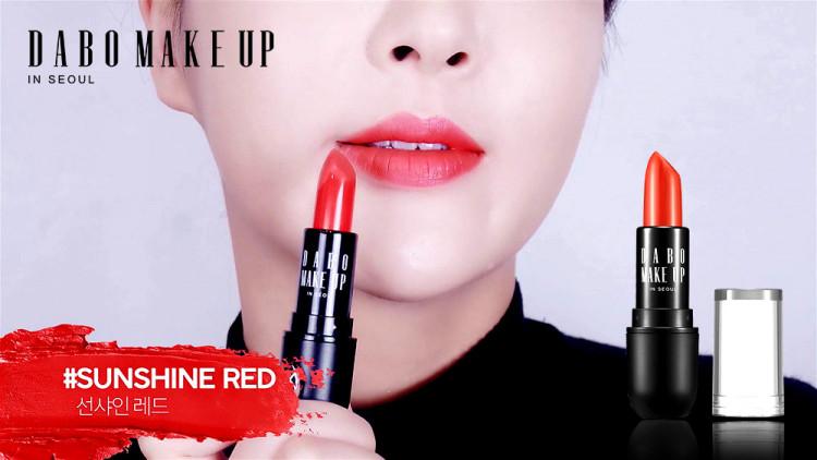 Son thỏi siêu lì nịnh môi Dabo Make Up Real RouGe Matte Hàn Quốc No.112 (Sun Shine Red) + Móc khoá 3