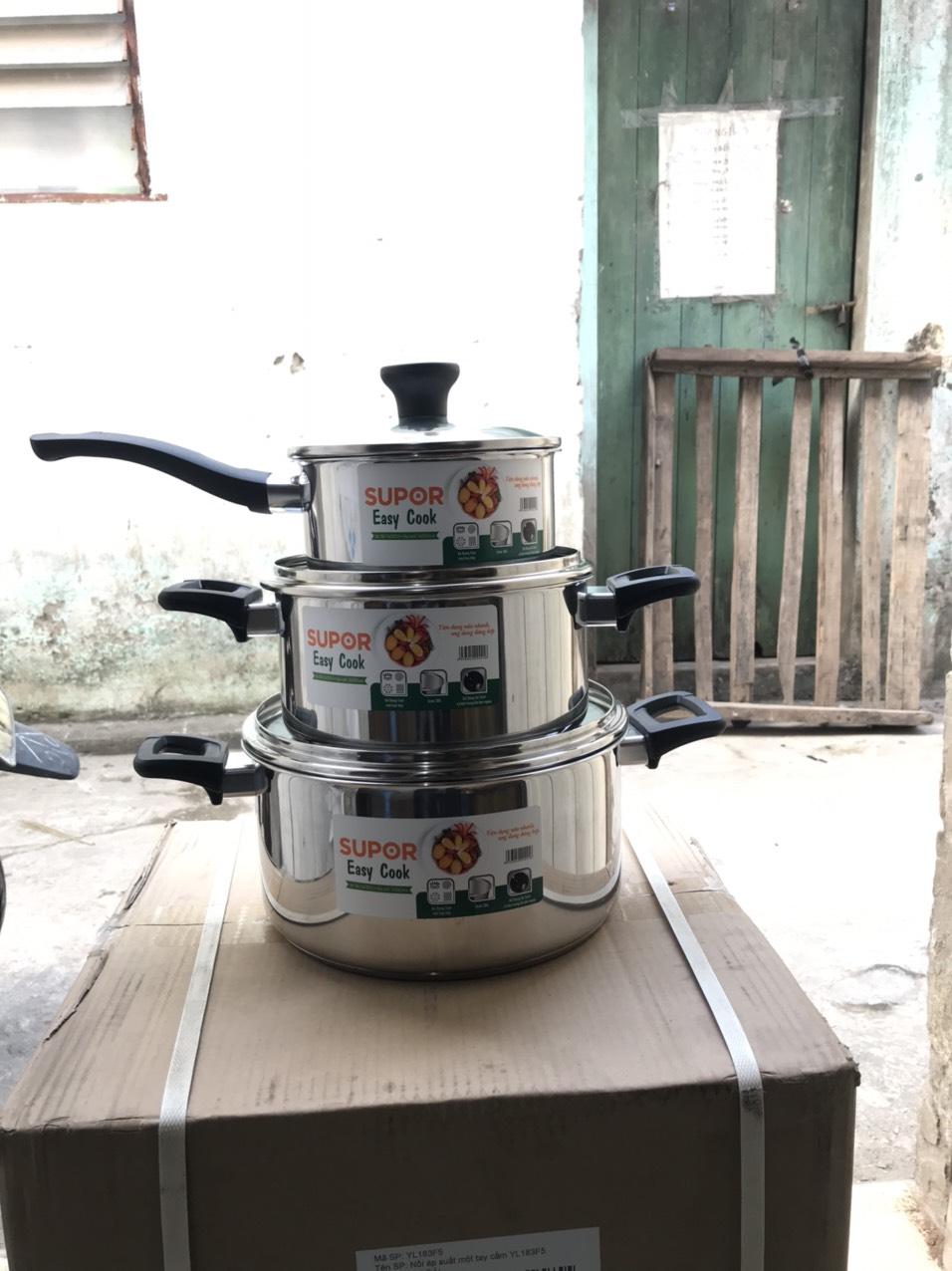 Bộ nồi  bếp từ inox cao cấp 100% chất liệu 18/10  Supor 16-20-24cm hàng chính hãng H20211-T1