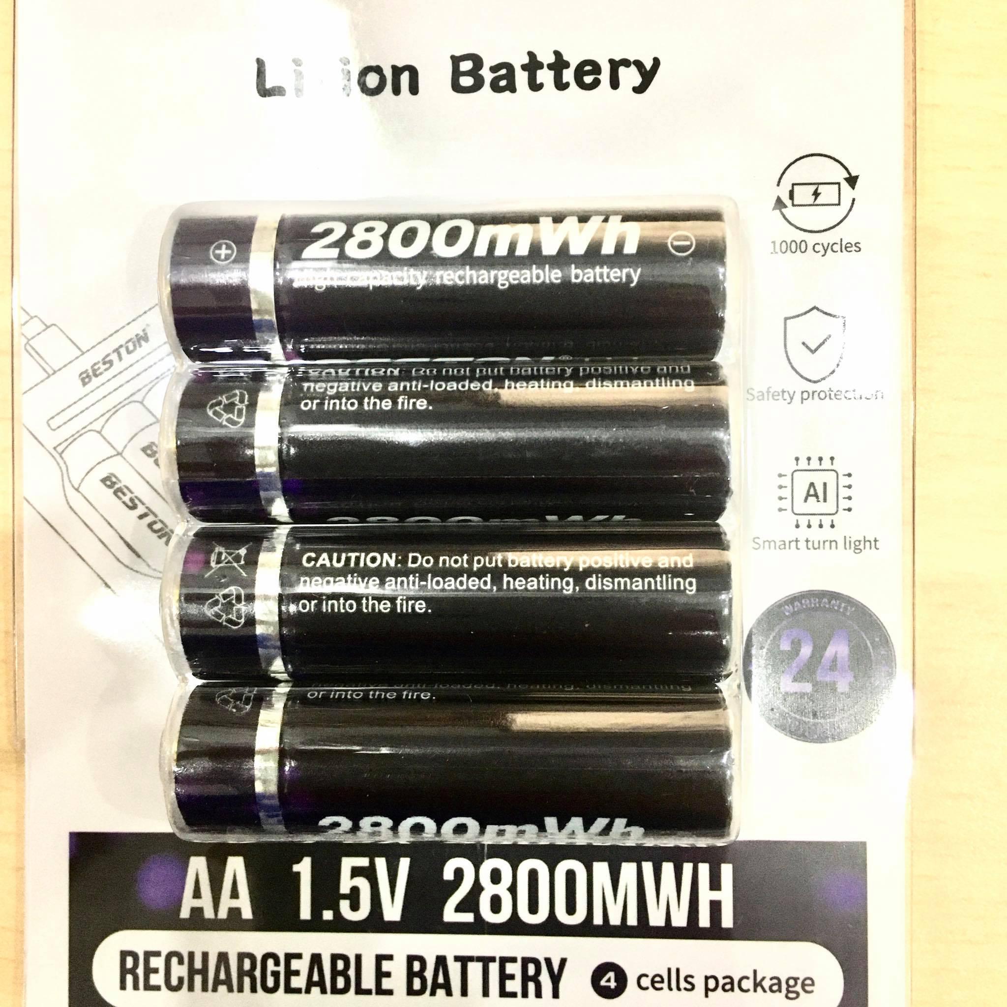 Vỉ 4 viên pin tiểu sạc AA (2A) Lithium Ion Beston 1.5V cao cấp Dung lượng cao - Hàng nhập khẩu
