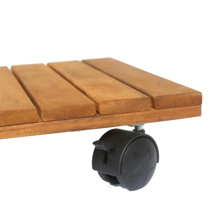 Đế lót chậu cây có bánh xe Vuông R30 (chịu lực 80kg) - Chất liệu gỗ tràm bông vàng