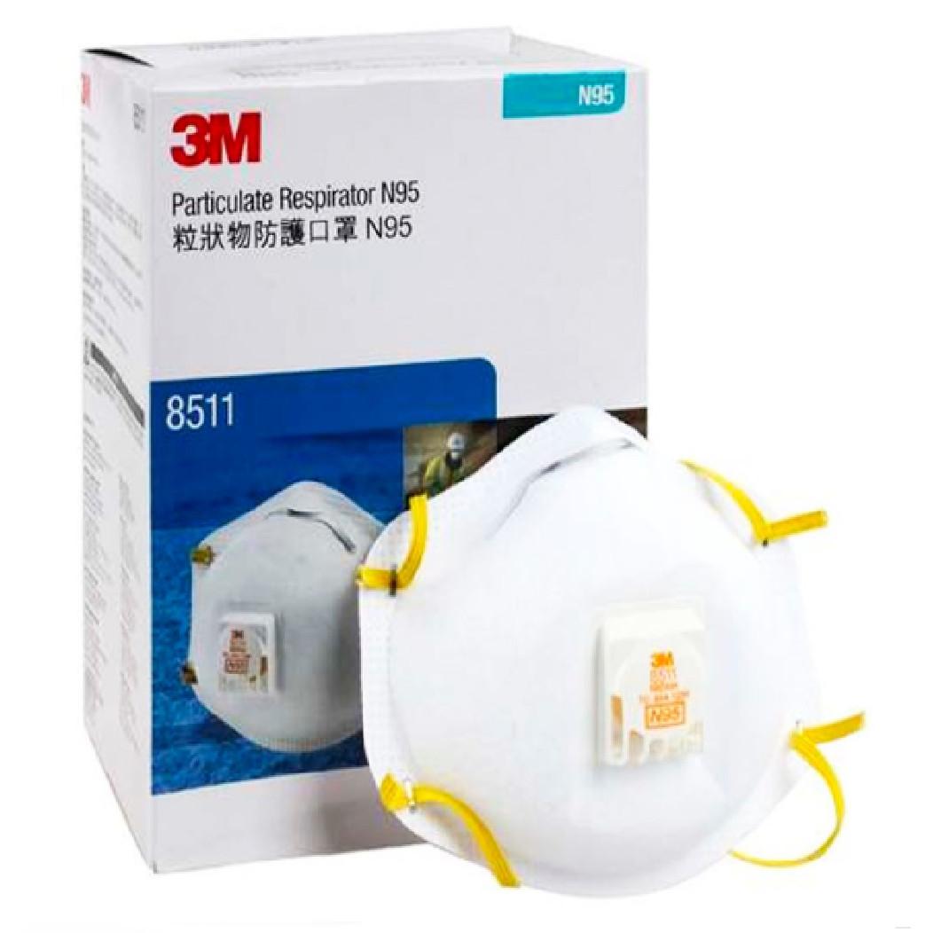 Hộp 10 chiếc khẩu trang lọc bụi siêu nhỏ, kháng khuẩn, bảo vệ hô hấp 3M N95 8511