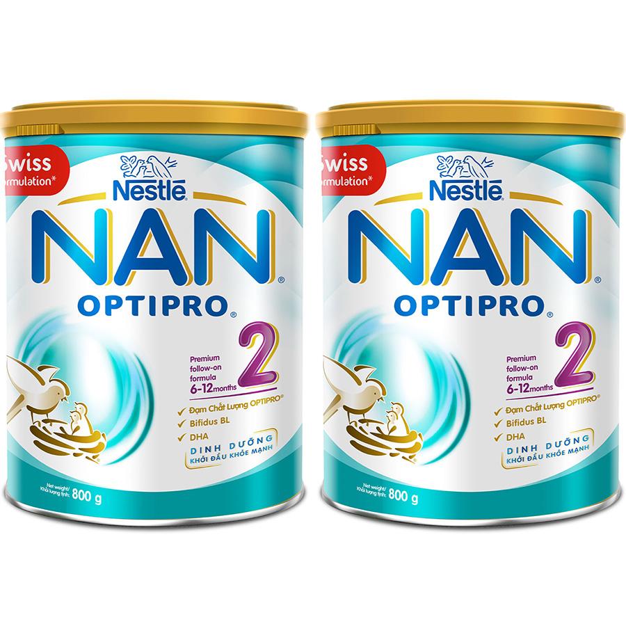 Hình ảnh Bộ 2 Sữa Bột Nestlé Nan Optipro 2 Lon 800G