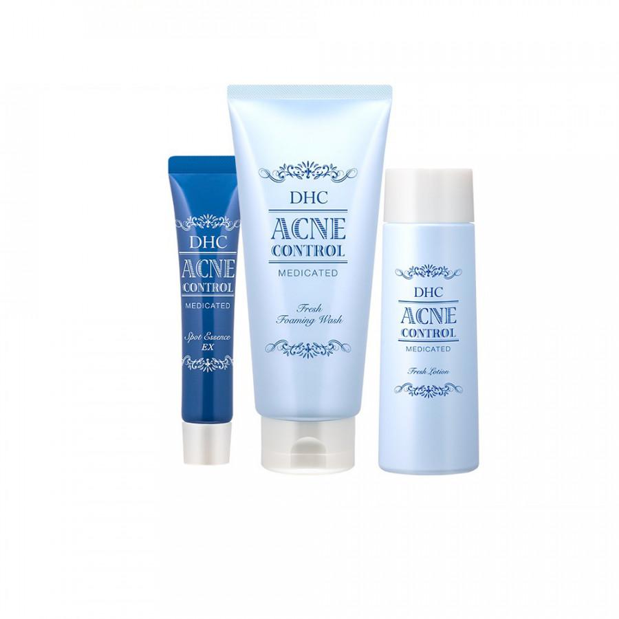 Bộ sản phẩm trị mụn Acne control DHC Foaming Wash 130gam, lotion 160ml, Spot Essence: 15gam