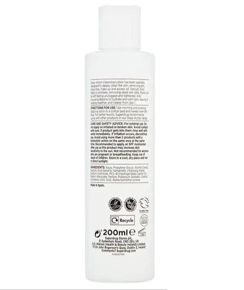 Nước hoa hồng Superdrug Deep Action 2% Salicylic Acid Cleansing Lotion 200ml
