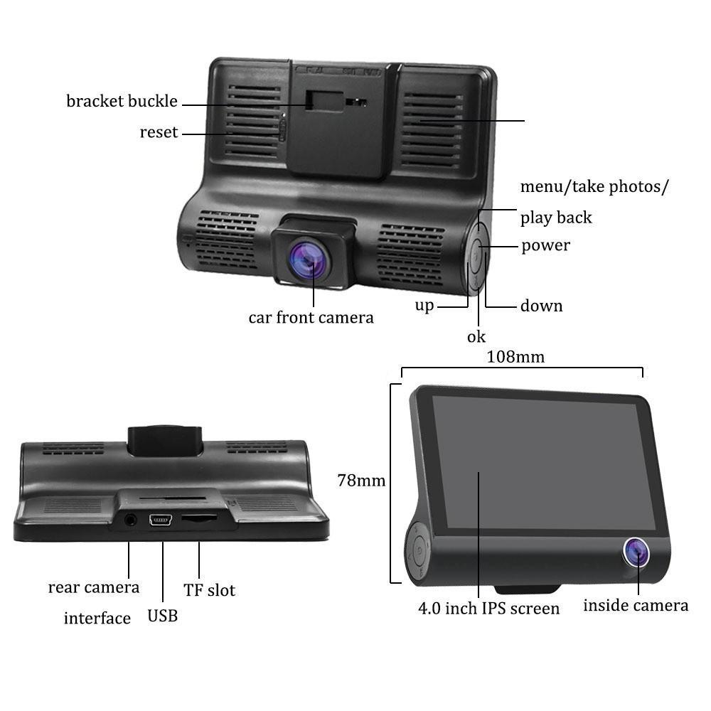 Camera hành trình ô tô 3 mắt camera, màn hình 4 inh full HD, ghi hình đa chiều, có chế độ ghi đè kèm thẻ nhớ 32G