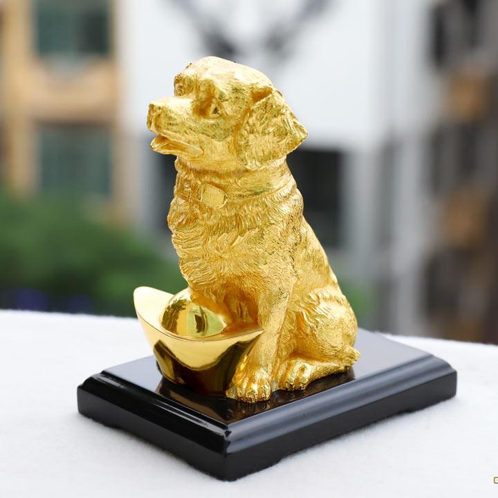 Tượng Khuyển Gia An Khang mạ vàng
