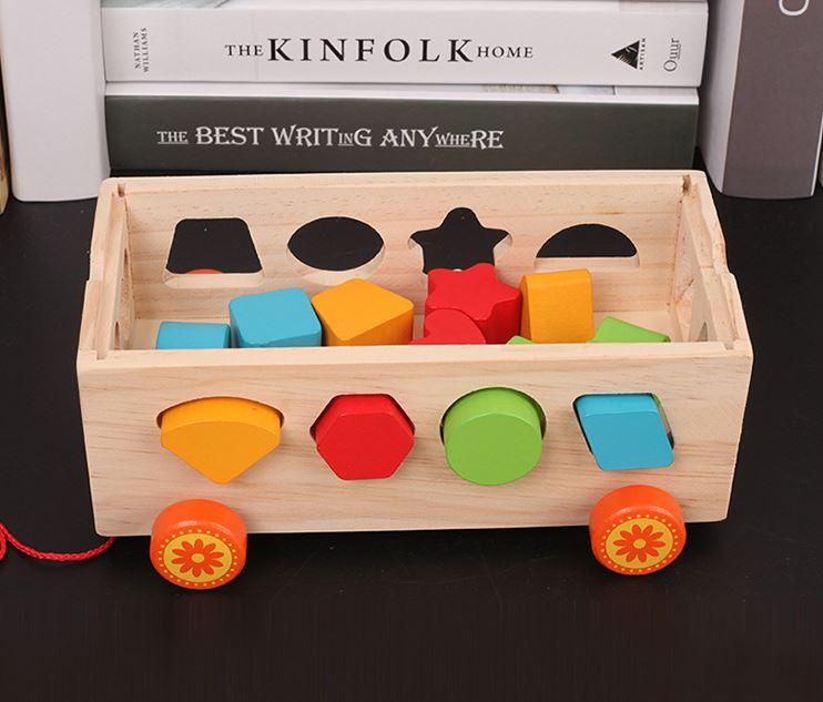 Bộ đồ chơi xe kéo thả số và hình khối