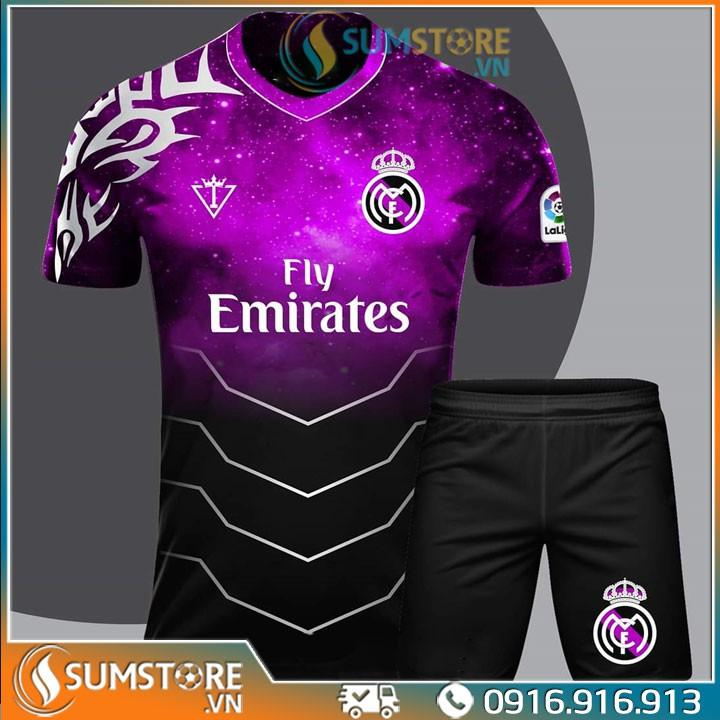 Áo Thể thao bóng đá CLB Real Madrid Tím Galaxy - Đồ đá banh 2020