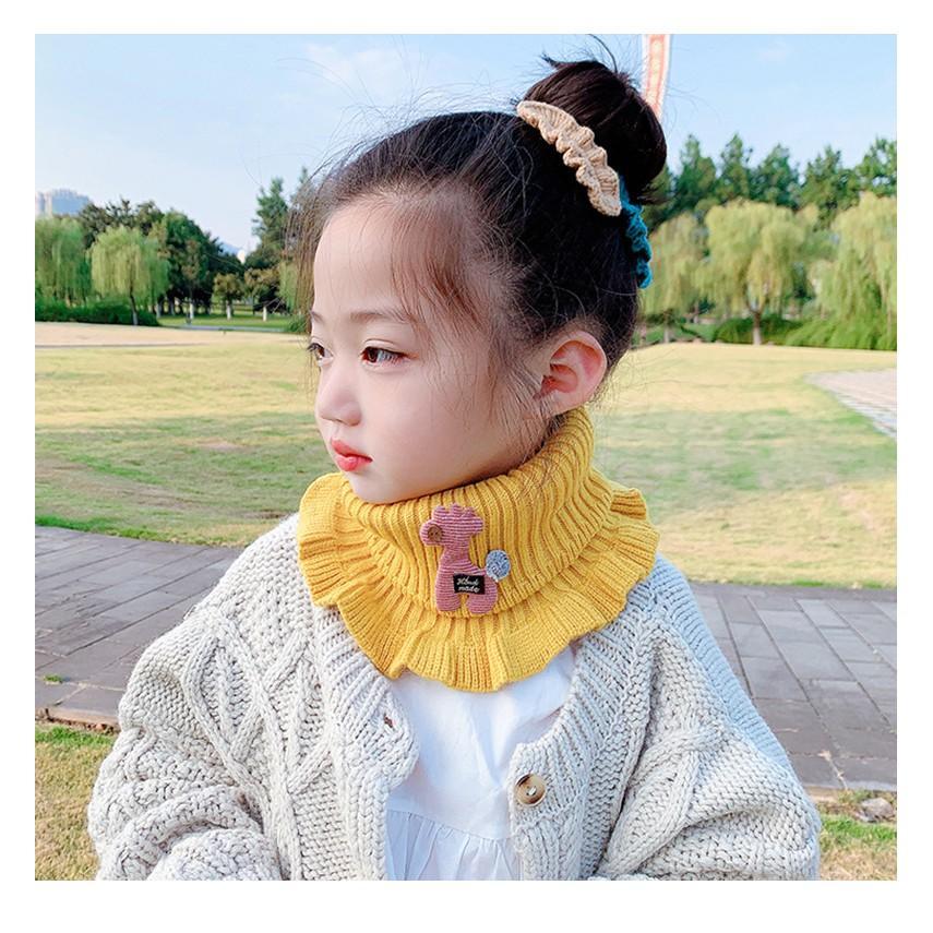 Khăn quàng cổ cho bé gái vải len mềm ấm họa tiết hoạt hình dễ thương mùa đông 2020 - khan len quang co be gai