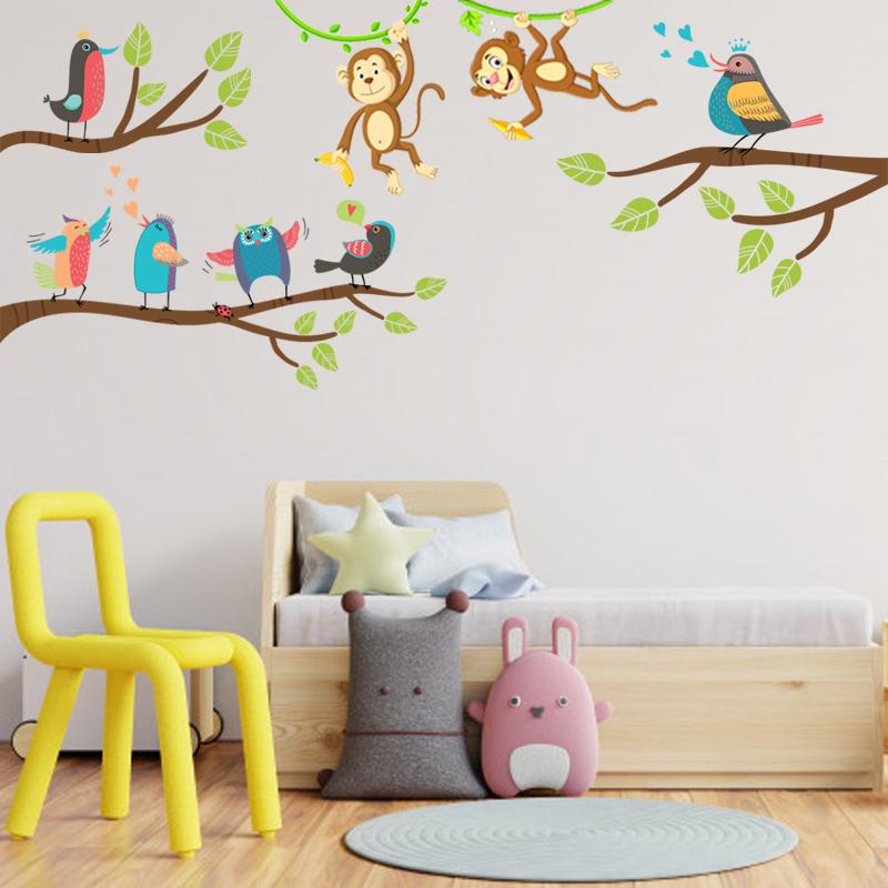 Decal Trang Trí Phòng Làm Việc, Decal Trang Trí Phòng Ngủ, Decal Trang Trí Phòng Khách | Decal Chủ Đề Khỉ Chim Vui Đùa Trên Cây