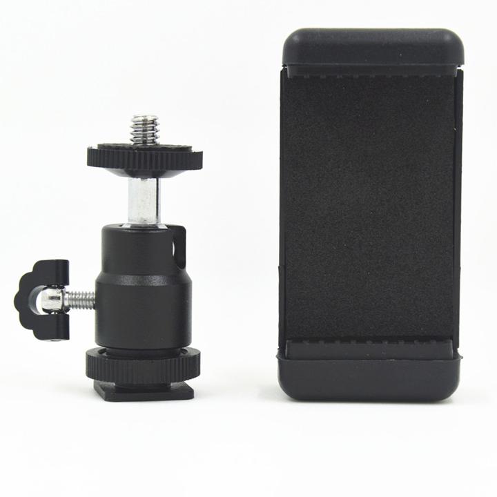 Bộ ball head hot shoe gắn chân flash máy ảnh và kẹp điện thoại