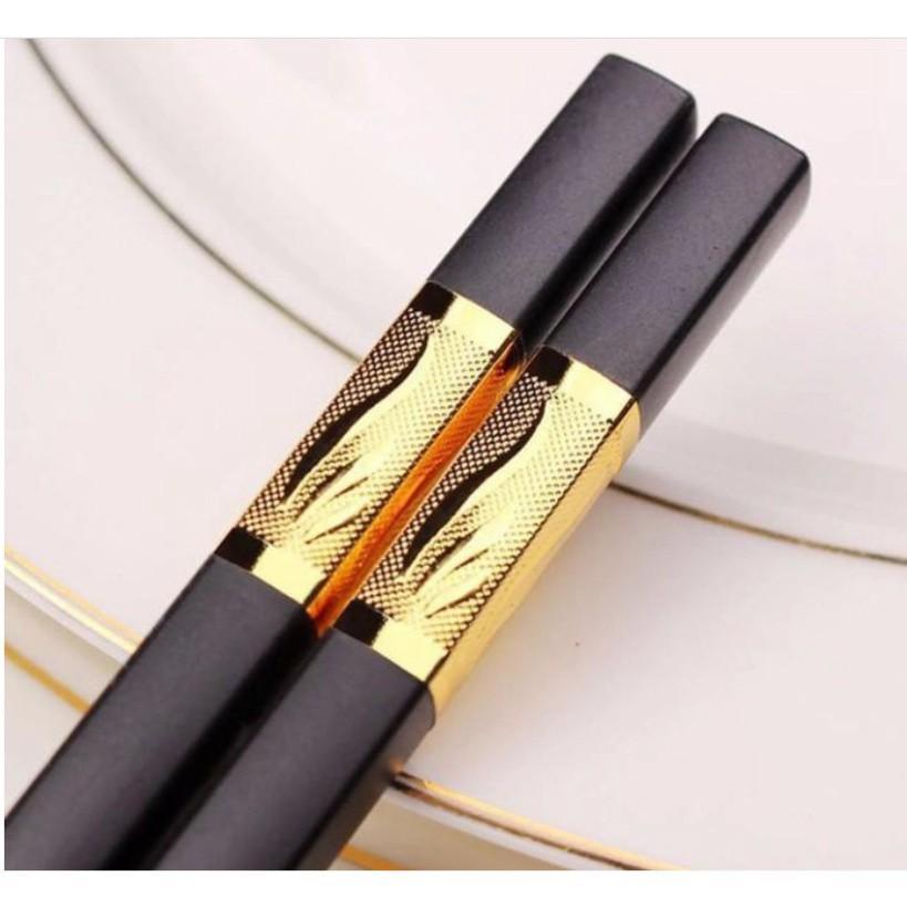 Đũa Mạ Vàng 3 Lá Cao Cấp Hàn Quốc - Hộp 10 đôi