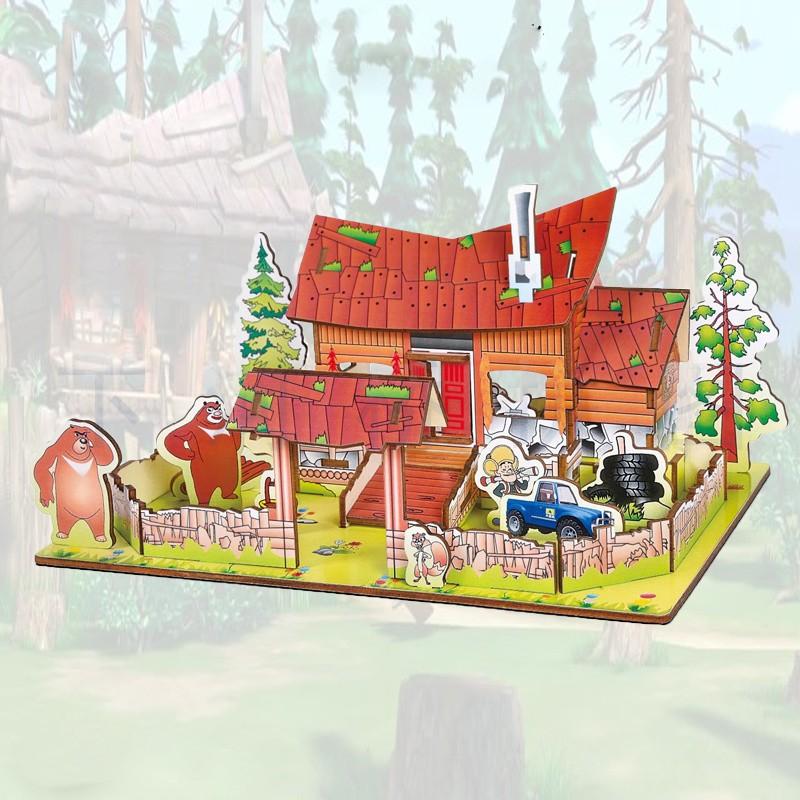 Đồ chơi lắp ráp gỗ 3D Mô hình Nhà gỗ Forest House Laser
