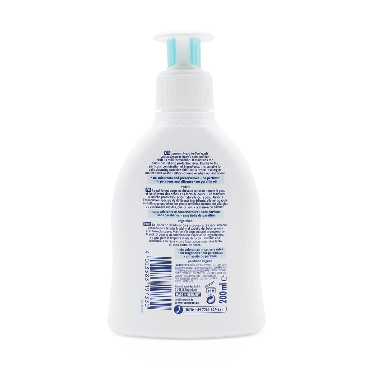 Sữa tắm gội dịu nhẹ cho da chàm thể tạng và nhạy cảm Sanosan 200ml