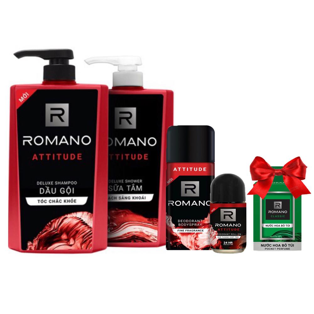 Bộ Romano Attitude: Dầu gội 650g, sữa tắm 650g, xịt khử mùi 150ml,lăn khử mùi 50ml +Tặng kèm nước hoa bỏ túi 18ml