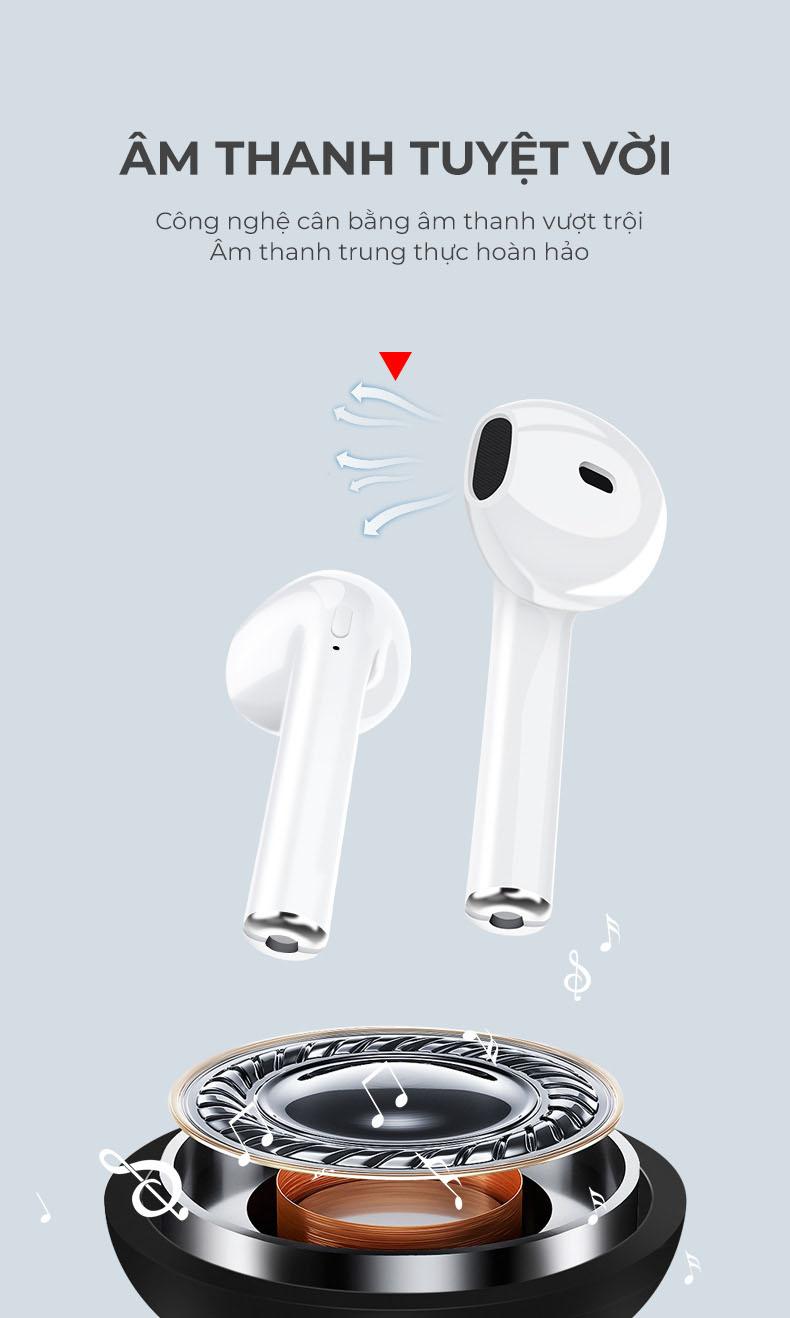 Tai nghe nhạc chuẩn Buetooth 5.0 Fullbox, phiên bản nâng cấp âm thanh 3D tiết kiệm pin - Hàng chính hãng