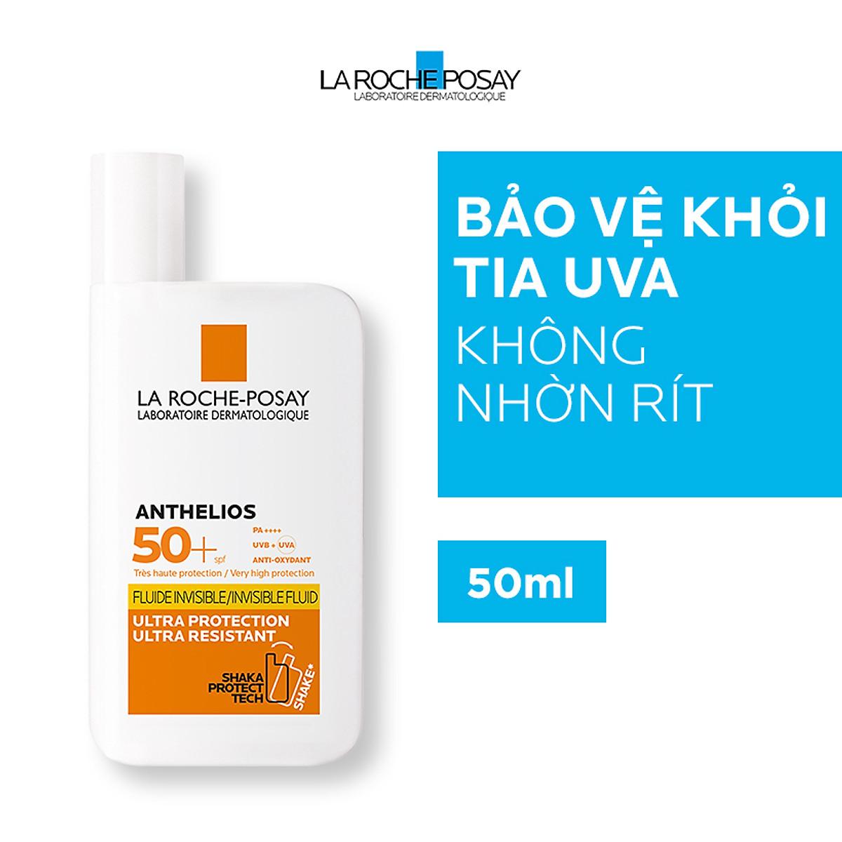 Kem Chống Nắng Dạng Sữa Lỏng Nhẹ Không Nhờn Rít La Roche-Posay Anthelios Shaka Fluid SPF 50+ (50ml) - TẶNG MÓC KHÓA