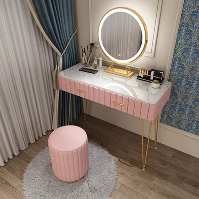Bộ bàn ghế trang điểm Bắc Âu hiện đại mặt đá bọc nỉ nhung cao cấp kèm gương led thông minh, bàn phấn LUX-BAP03