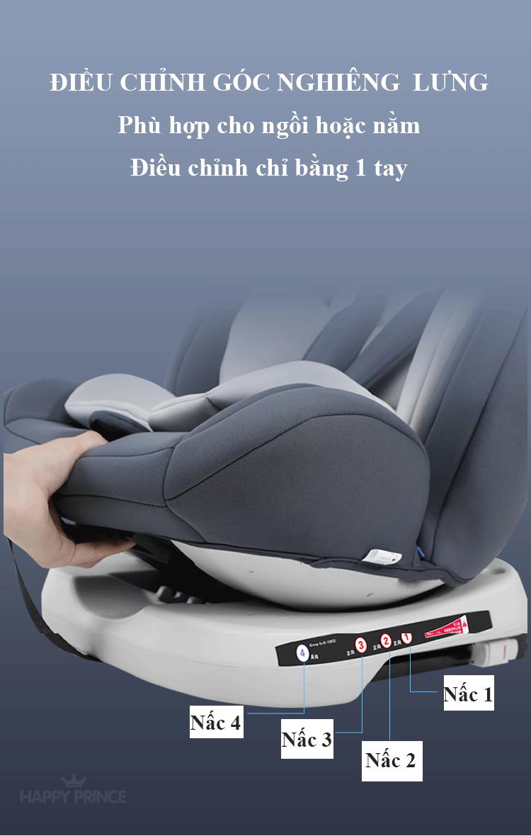Ghế ô tô 2 chiều CHUẨN ISO 9001, điều chỉnh 4 tư thế từ nằm tới ngồi và có thể điều chỉnh độ cao 7 cấp cho bé từ 0-12 tuổi (xám) 6