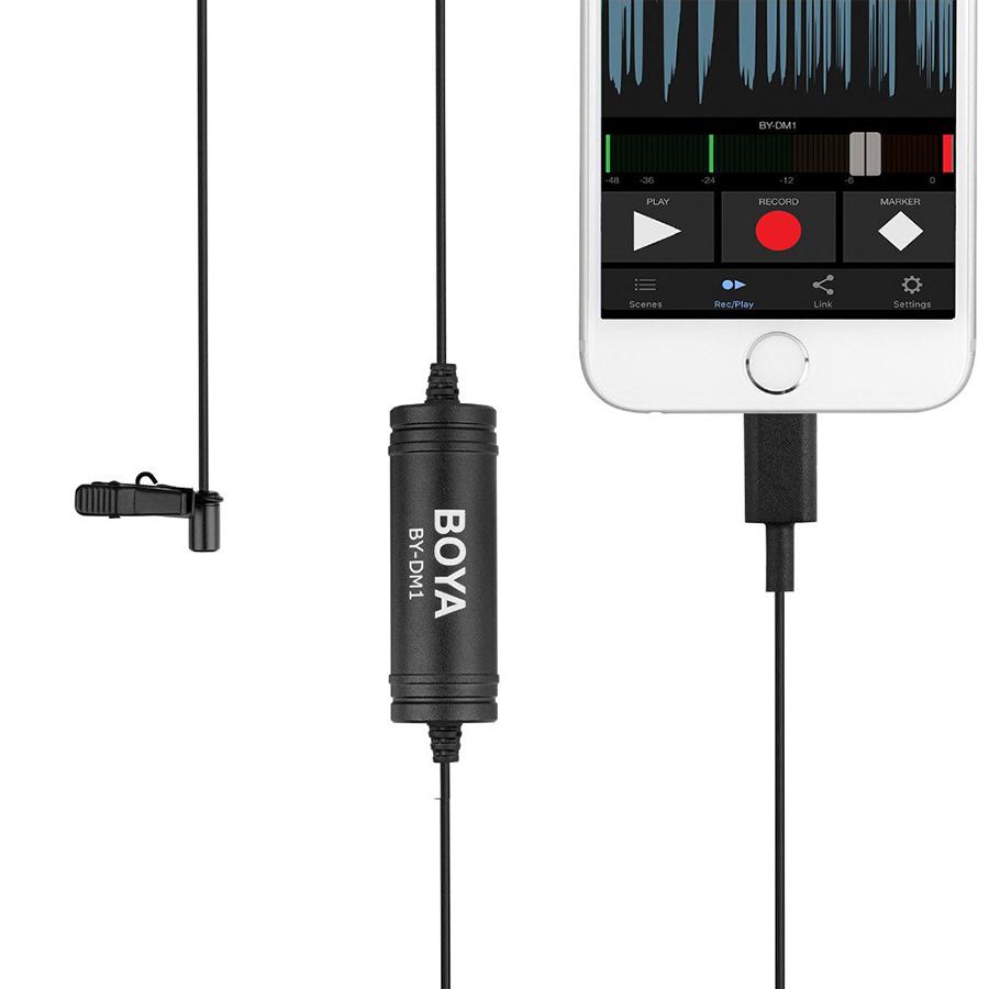 Micro Thu Âm Cài Áo Boya BY-DM1 Cổng Lightning Cho iPhone iPad - Hàng Chính Hãng