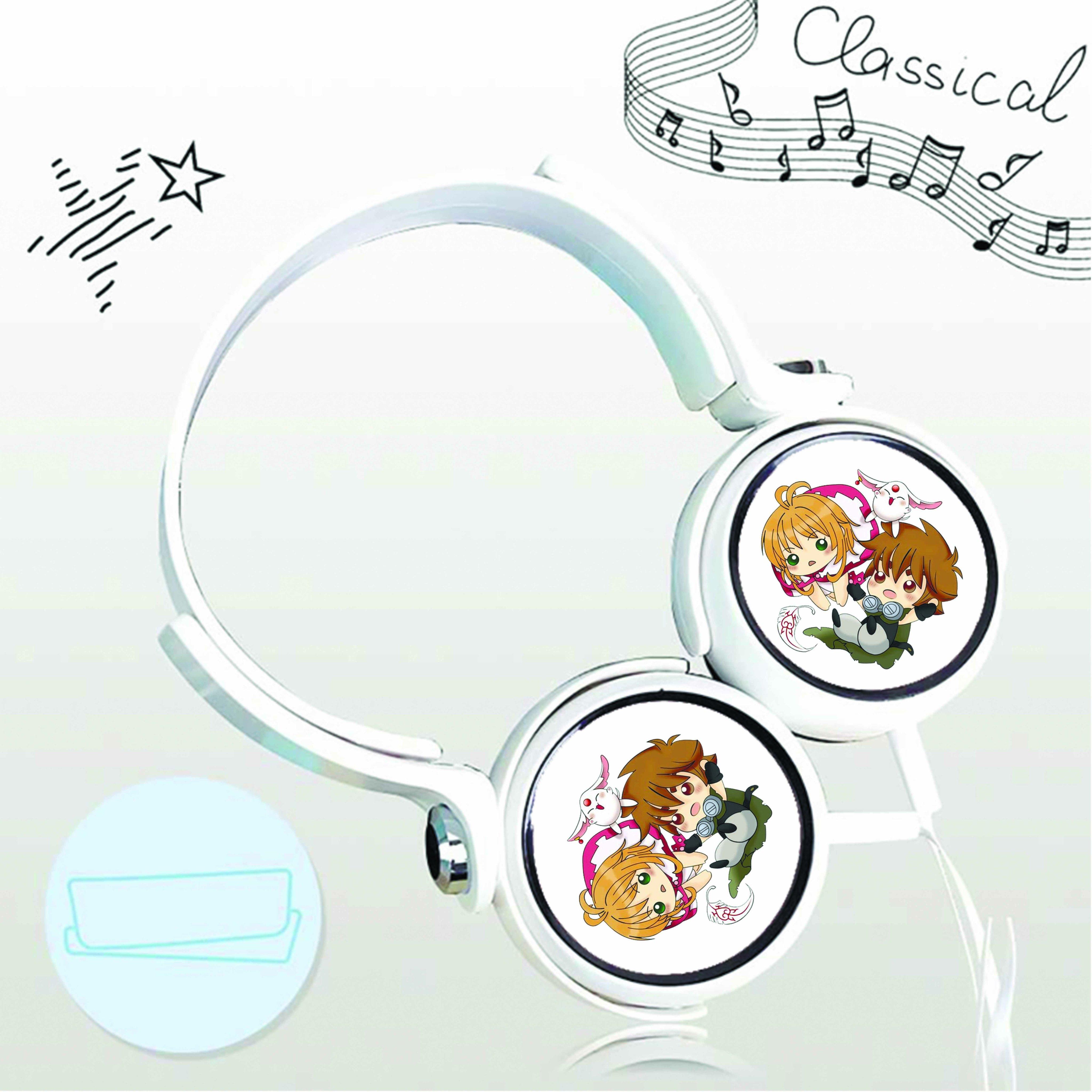 Tai nghe chụp in hình Huyền Thoại Đôi Cánh - Tsubasa: Reservoir Chronicle anime chibi cắm dây có mic