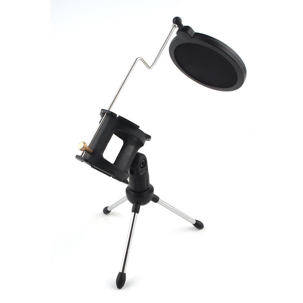 Giá đỡ micro 3 chân có thể gập lại kèm màng lọc âm thanh -DC3971