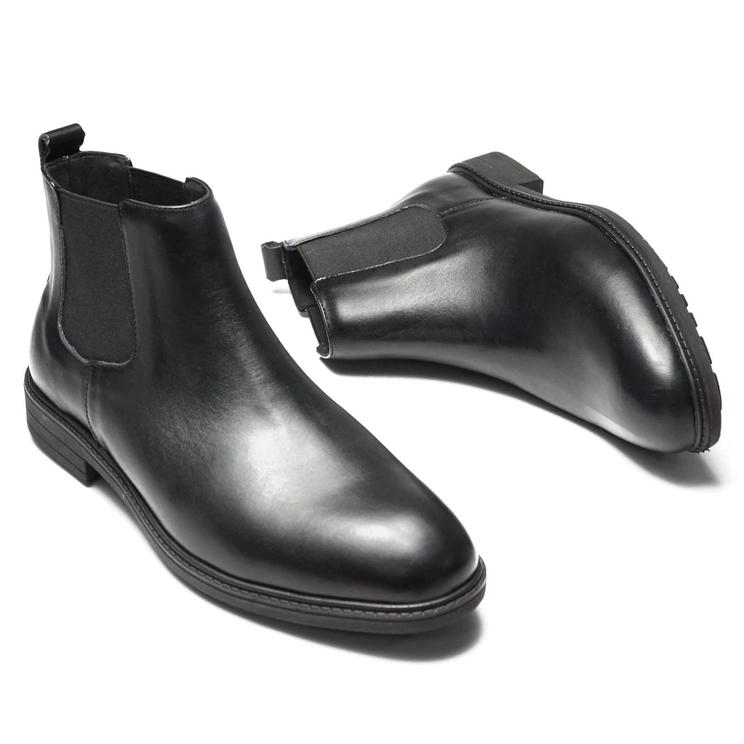 Giày Boots Nam Cổ Cao Chelsea Cao Cấp Chuẩn Form Da Trơn Nhẵn Không Nhăn Không Phình Tôn Dáng - GCN12