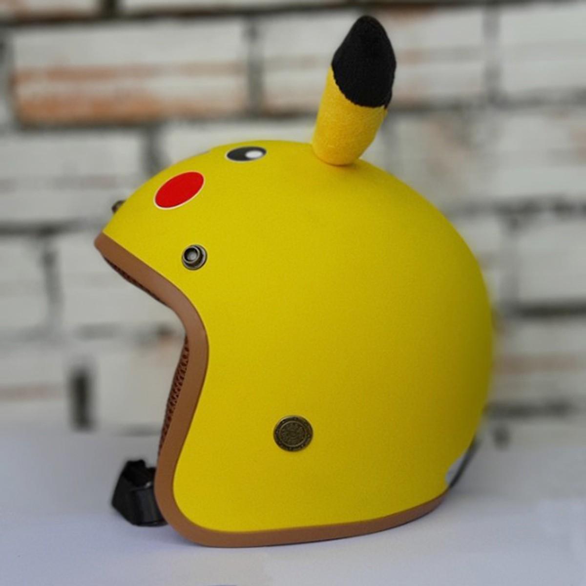 Combo Mũ bảo hiểm 3/4 pikachu hình thú vui nhộn có tai siêu ciu + Kèm chong chóng