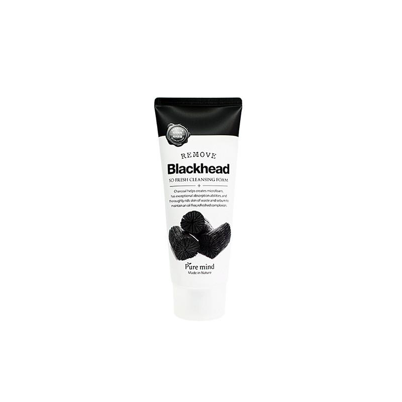 Sữa Rửa Mặt Than Hoạt Tính Pure Mind Blackhead So Fresh Cleansing Foam (Chăm sóc da mặt)