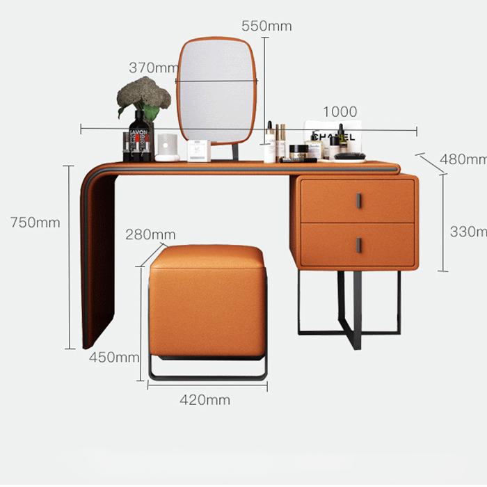 L.U.X. <<< Bàn trang điểm phong cách ý hiện đại 1m full ghế gương led (kt 100x48x75cm)