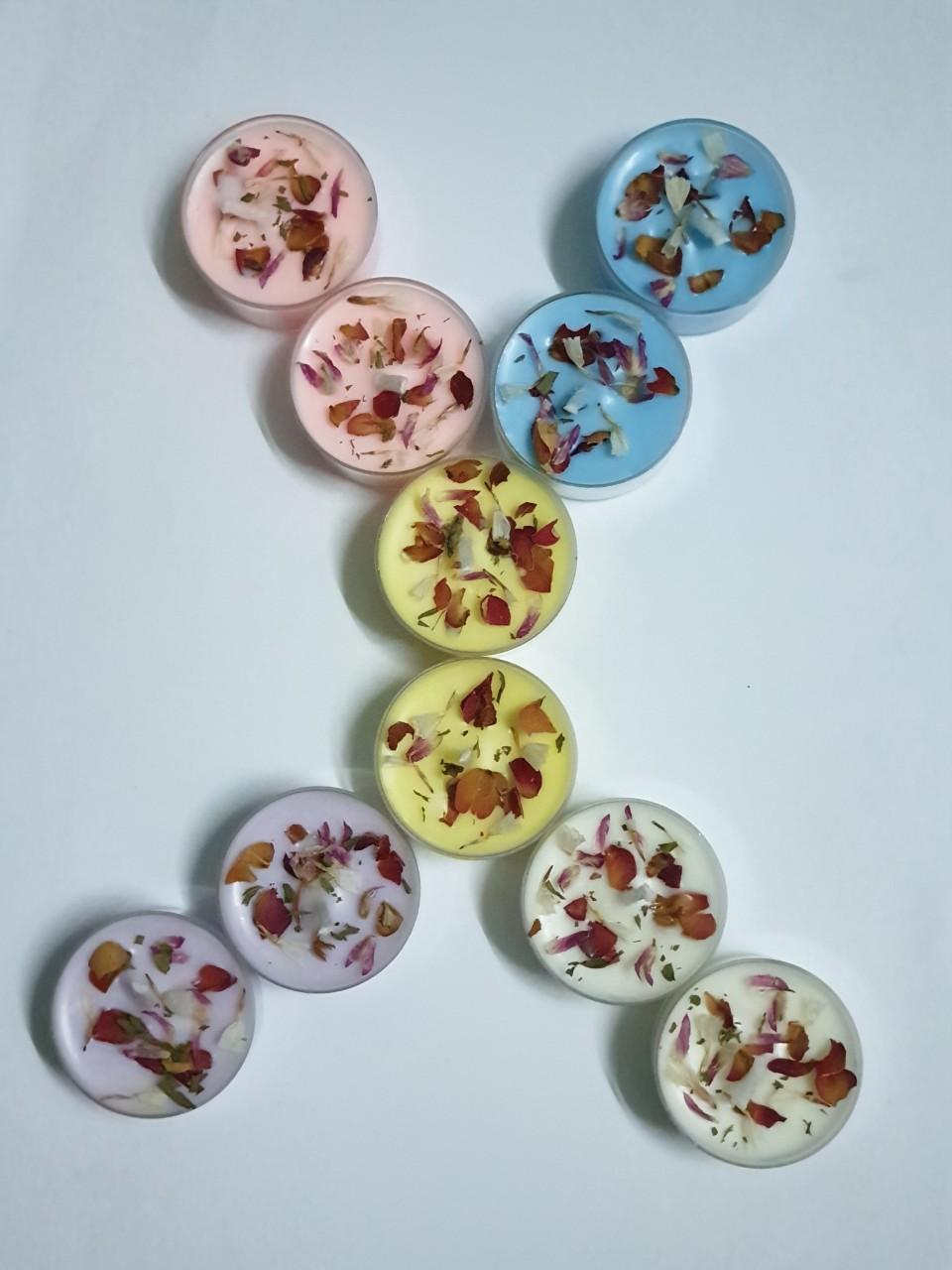 Nến tealight hoa Hộp 10 viên làm từ sáp ong và sáp cọ (không có tinh dầu)/ Tealight Candles handmade