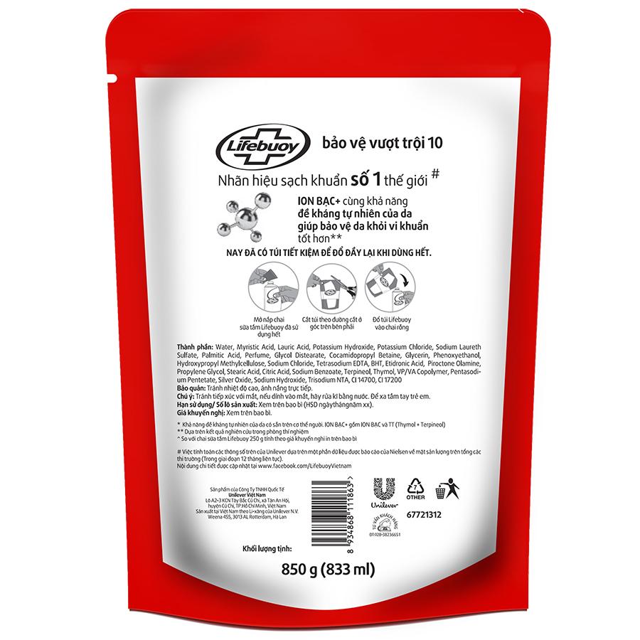 Sữa Tắm Lifebuoy Bảo Vệ Vượt Trội Dạng Túi (850g) - 21166643