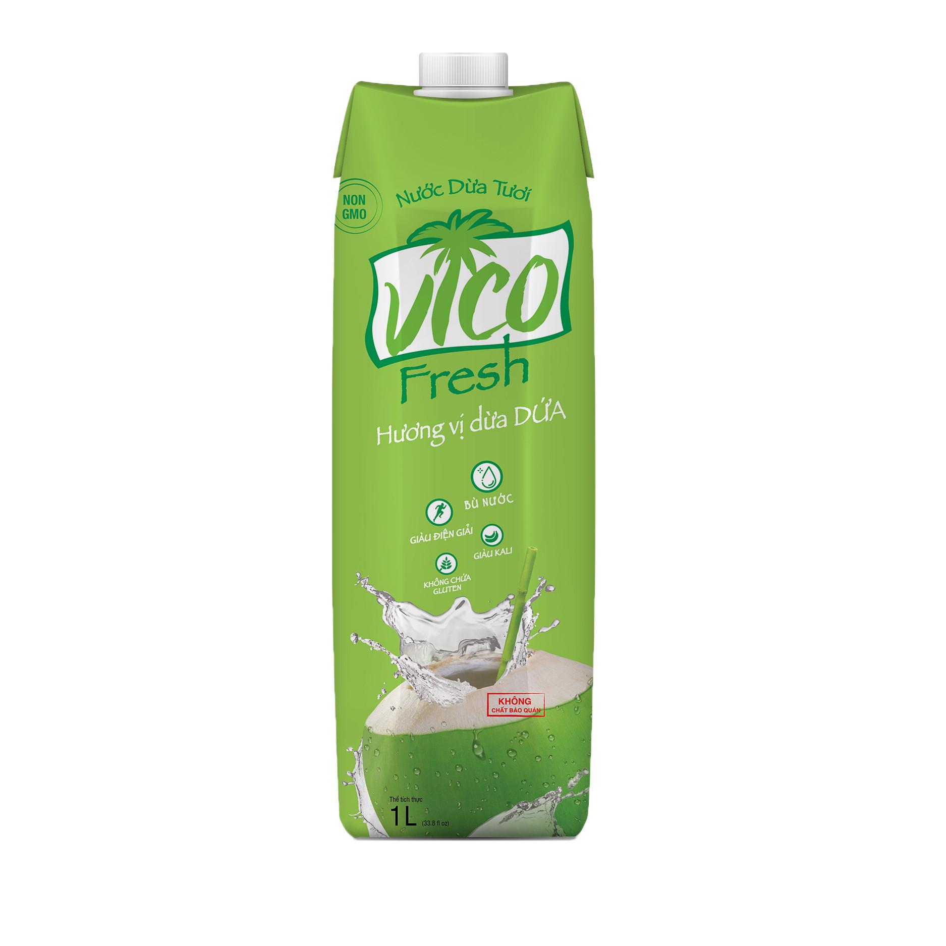 Thùng 12 hộp Nước dừa dứa VICO FRESH 1 lít  hộp