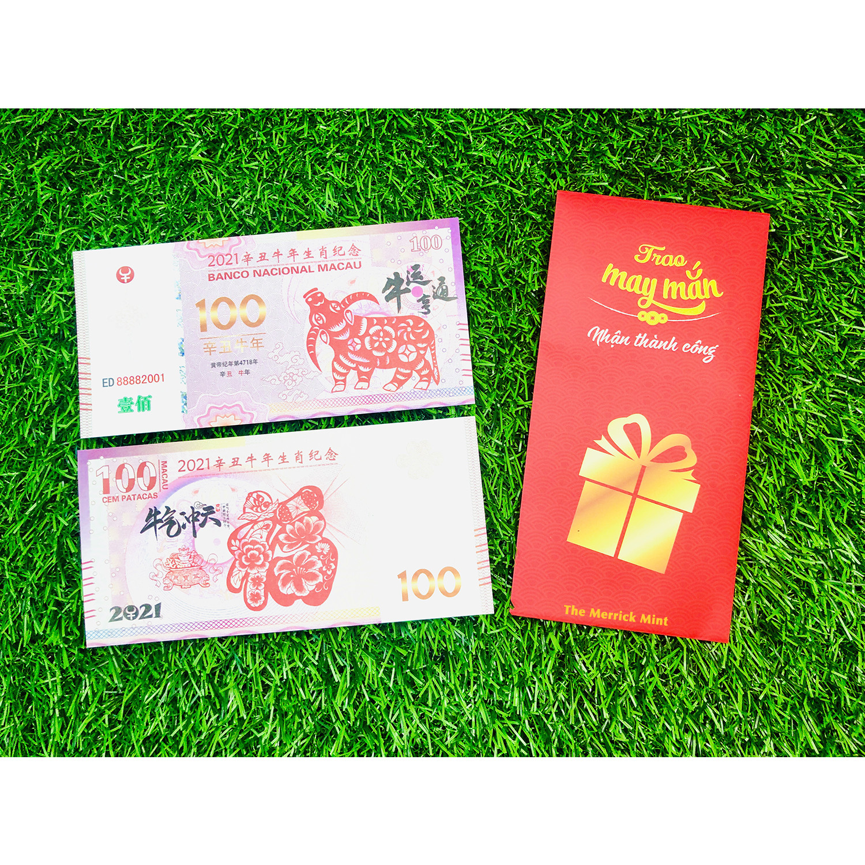 Tờ tiền hình con trâu Macao 100 lưu niệm 2021, dùng làm tiền lì xì tết , vật phẩm lưu niệm lấy may ngày Tết, tặng kèm bao lì xì đỏ Trao May Mắn Nhận Thành Công - The Merrick Mint - PVN2791