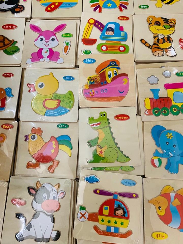 Bộ 10 tranh ghép 3D nhiều chủ đề cho bé tập làm quen ghép hình - đồ chơi gỗ cao cấp MK