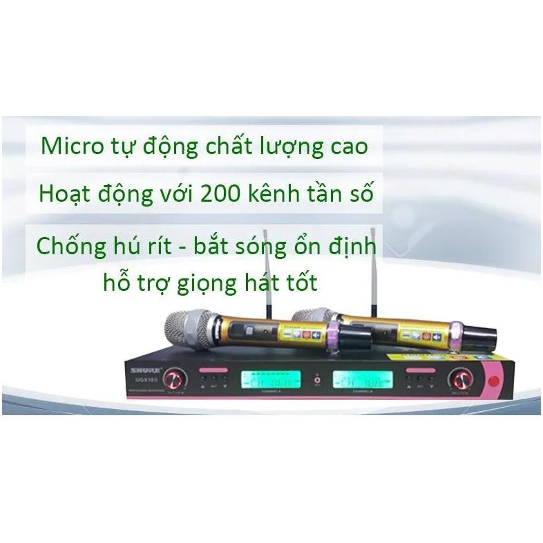 Micro Karaoke Không Dây Cao Cấp Shure UGX10II, Phạm vi sử dụng 200m, Thay đổi 200 Kênh tầng số tránh trùng sóng khi 2 mic gần nhau , Chống hú rít cực tốt, TN Bluetooth Siêu Bass Có Mic Đàm Thoại Thích Hợp trò chuyện trên Zoom  - Hàng nhập khẩu