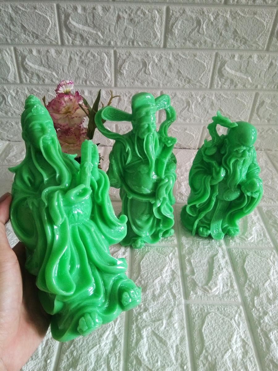 Tượng Tam Đa Phúc Lộc thọ đá poly màu xanh ngọc bích PLTX23