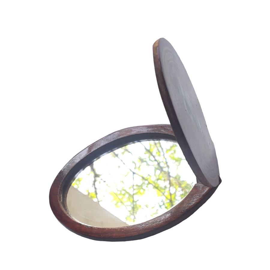 Combo 02 Gương bỏ túi gỗ hương khảm xà cừ (Dài 10,5cm, Rộng 7cm) -Đẹp, độc đáo, cá tính, bỏ túi tiện lợi