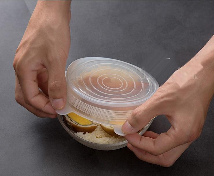 Bộ nắp silicon trắng đa năng nhiều size bảo quản thức ăn chống đổ ( 6 cái)