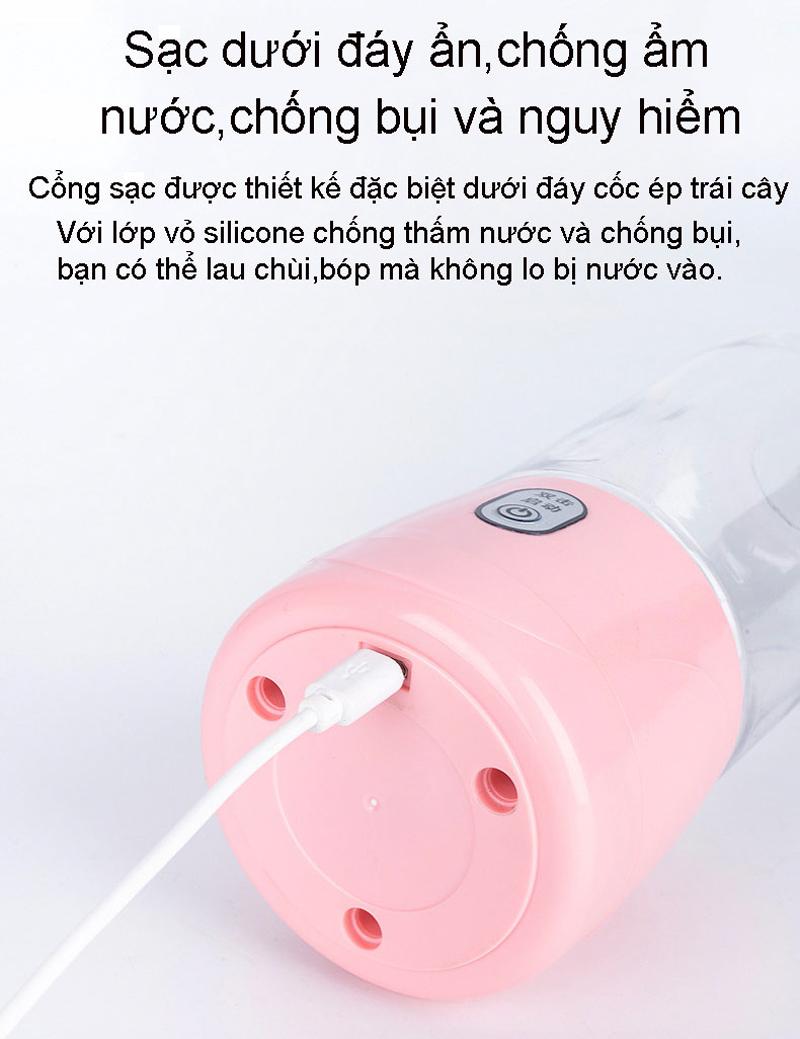 Máy Xay Sinh Tố Mini Cầm Tay Đa Năng 6 Lưỡi Dao, Máy Xay Sinh Tố Du Lịch Nhỏ Gọn Tiện Dụng, Dung Tích 410Ml - Sạc USB Di Động Dung Lượng 3000mAh (Hàng Chính Hãng)