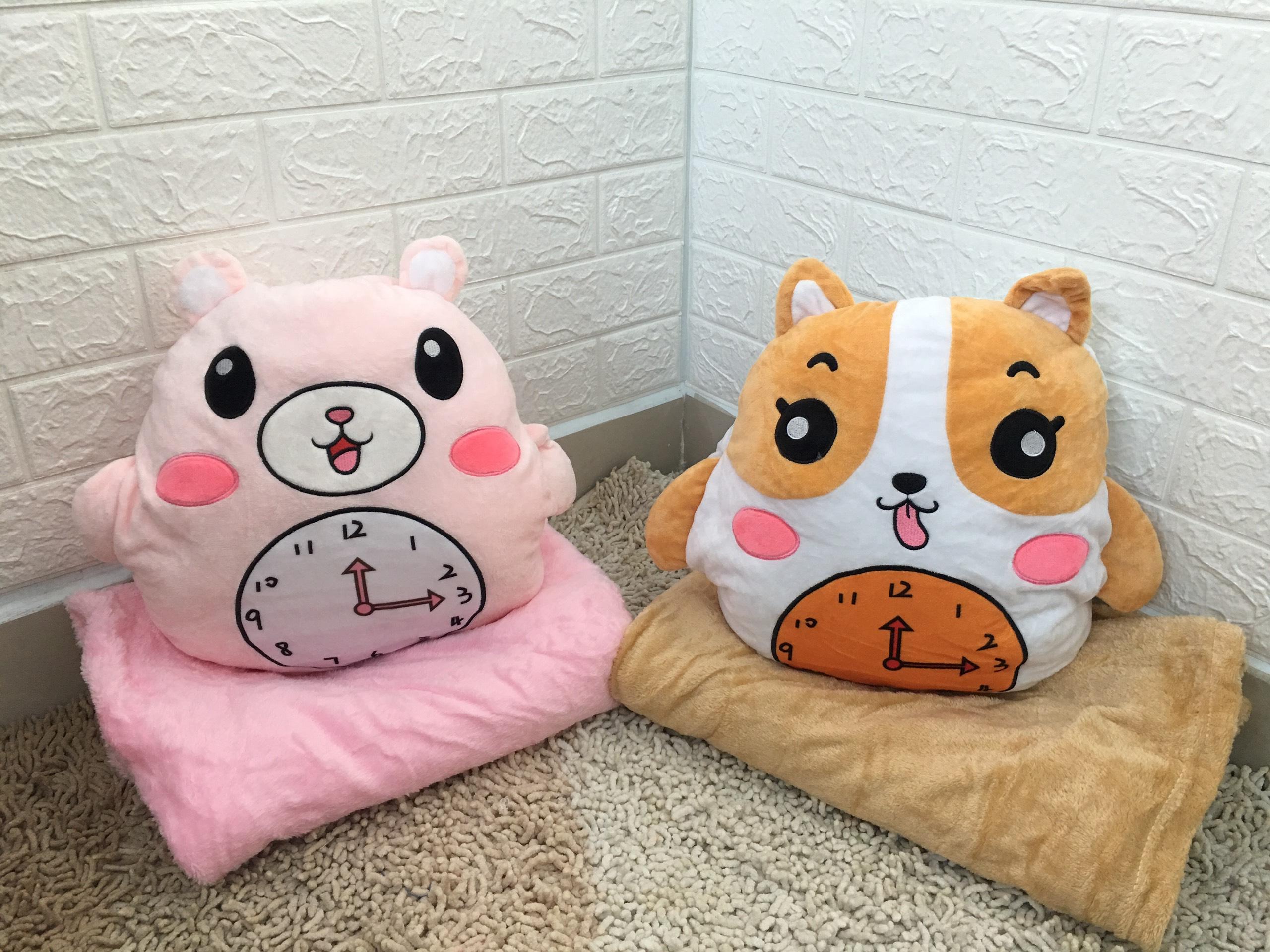 Gối mền gấu bông đồng hồ cute, nỉ nhung siêu mịn, bộ chăn gối văn phòng, gấu bông kèm mền quà tặng sinh nhật