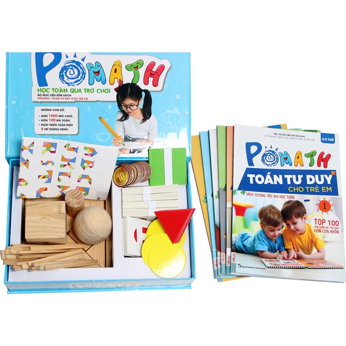 Combo Bộ sách POMath Toán tư duy cho trẻ em 4 đến 6 tuổi, và bộ học liệu đi kèm(Tặng Kèm Bookmark PL)
