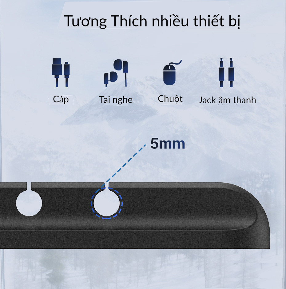 Hình ảnh Phụ kiện giữ dây cáp sạc Giá Silicon mini cố định dây cáp sạc cho các thiết bị điện tử trên bàn làm việc - Hàng Chính Hãng