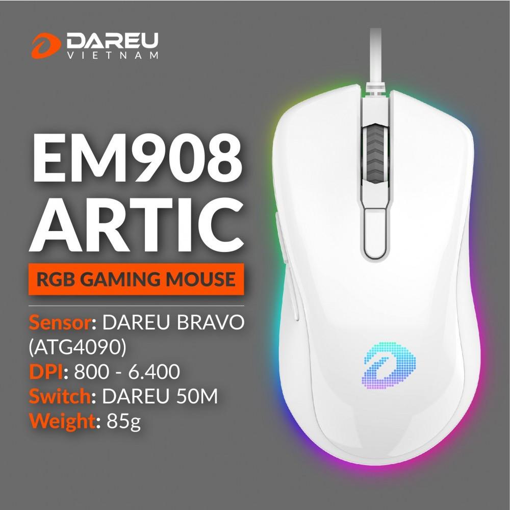 Chuột Gaming Dareu EM908 White - Hàng Chính Hãng