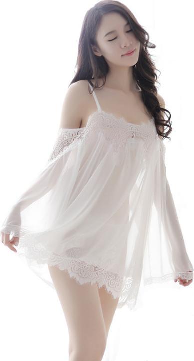 Áo ngủ sexy trễ vai tay dài - Màu trắng